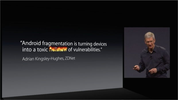 Screengrab from the WWDC keynote speech using my toxic hellstew quote
